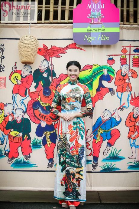 Ngoc Han thuot tha trong chiec ao dai tu thiet ke tai Festival Ao dai - Anh 7
