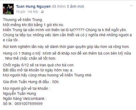 Sao Viet keu goi chung tay giup do dong bao mien Trung bi lu lut - Anh 6