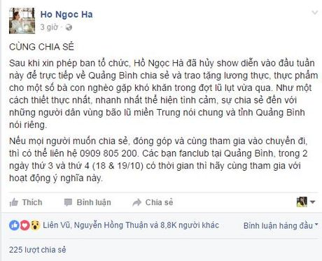 Ho Ngoc Ha huy show dien ve que Quang Binh ho tro ba con trong bao lu - Anh 2