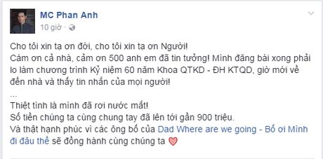 MC Phan Anh keu goi duoc hon 2 ty giup do nguoi dan mien Trung bi lu lut - Anh 3