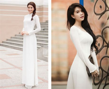 Pham Huong mac ao dai trang thua xa Ngoc Trinh - Anh 2