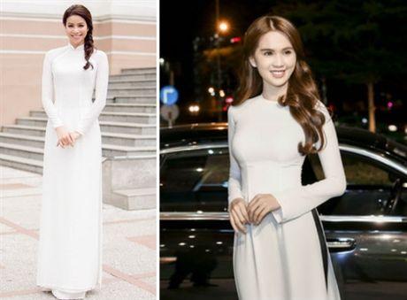 Pham Huong mac ao dai trang thua xa Ngoc Trinh - Anh 3