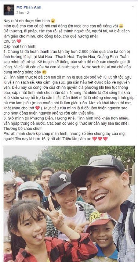 MC Phan Anh, Ho Ngoc Ha, Dam Vinh Hung cap nhat tinh hinh cuu tro mien Trung tren Facebook - Anh 1