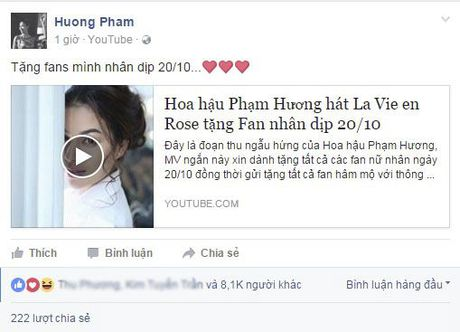Tan chay voi mon qua tang fan ngot ngao cua Pham Huong nhan ngay 20/10 - Anh 1