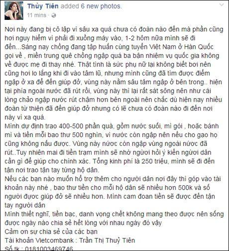Thuy Tien, Tran Thanh ung ho 350 trieu cho dong bao mien Trung - Anh 2