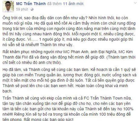 Thuy Tien, Tran Thanh ung ho 350 trieu cho dong bao mien Trung - Anh 3