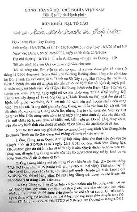 Som lam ro don khieu nai cua mot cong chuc So Xay dung Hai Phong - Anh 1