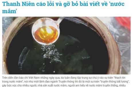 Bao Thanh Nien cao loi va go bo 5 bai viet ve nuoc mam - Anh 1