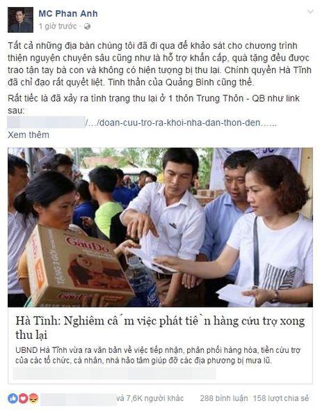 MC Phan Anh len tieng vu thon thu tien cuu tro cua dan roi chia lai - Anh 1
