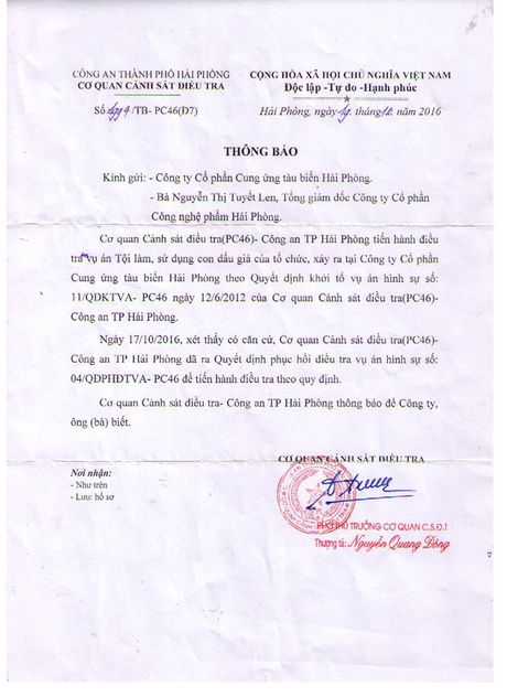 Cong an Hai Phong da ra quyet dinh phuc hoi dieu tra vu an - Anh 1