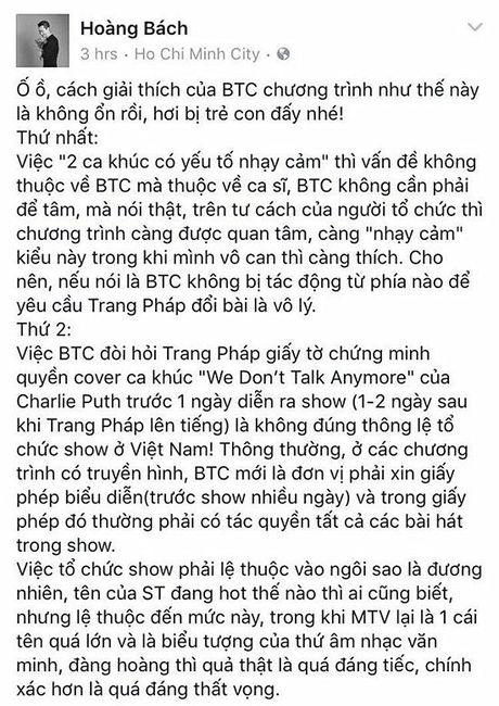 Hoang Bach bi fan Son Tung chat van vi nghi xia xoi than tuong - Anh 1