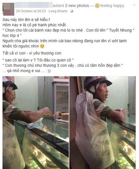 Xuc dong hinh anh nguoi cha ngheo mua banh sinh nhat cho con gai - Anh 1