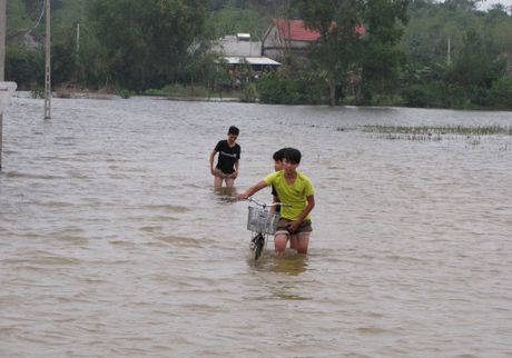 Nguoi dan lan ngup trong bien nuoc o tam lu Quang Binh - Anh 1