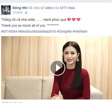 Dong Nhi gianh giai nghe si Dong Nam A xuat sac nhat MTV EMA 2016 - Anh 2
