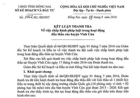Vinh Cuu, Dong Nai: Phat hien sai pham trong hoat dong dau thau - Anh 1