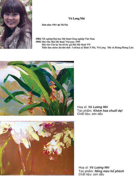 Ba nu hoa si Dinh Y Nhi - Hoang Thi Phuong Lien - Vo Luong Nhi trien lam tranh ky niem 20 nam gan bo - Anh 2
