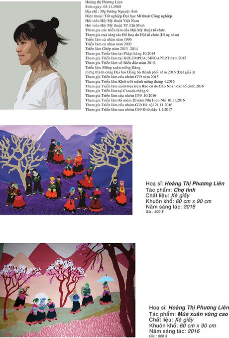 Ba nu hoa si Dinh Y Nhi - Hoang Thi Phuong Lien - Vo Luong Nhi trien lam tranh ky niem 20 nam gan bo - Anh 3