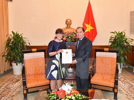 Trao Giay chap nhan lanh su cho Tong Lanh su Bi tai Ha Noi - Anh 1