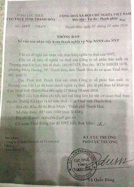 Thanh Hoa: Xac nhan hoan thanh nghia vu thue cho Cong ty Cat Loi co dung luat? - Anh 1