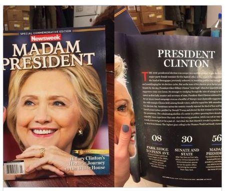 Tap chi Newsweek in nham trang bia thanh nu Tong thong Hillary Clinton - Anh 1