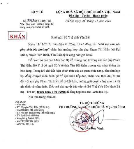 Bo Y te yeu cau So Y te Yen Bai lam ro phan anh san phu tu vong - Anh 1