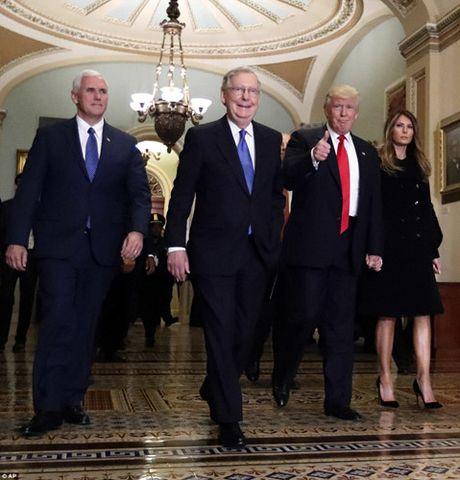 Chum anh: Ong Trump va phu nhan tay trong tay tham toa nha Quoc hoi My - Anh 3