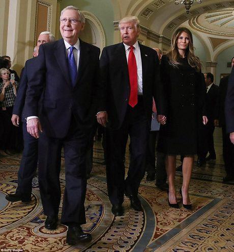 Chum anh: Ong Trump va phu nhan tay trong tay tham toa nha Quoc hoi My - Anh 6