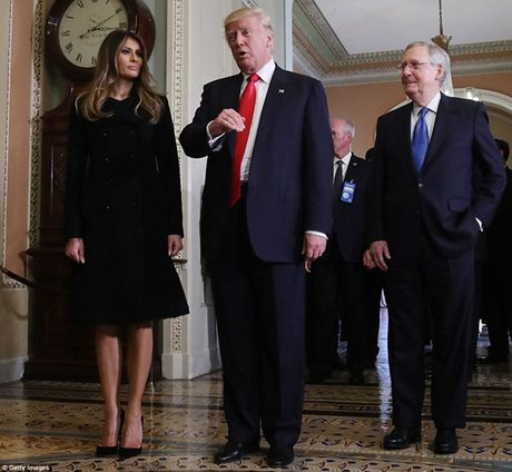 Chum anh: Ong Trump va phu nhan tay trong tay tham toa nha Quoc hoi My - Anh 7