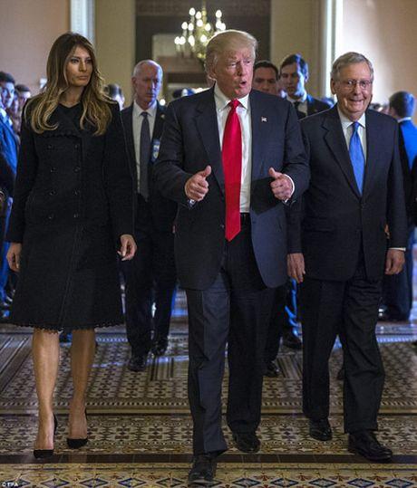 Chum anh: Ong Trump va phu nhan tay trong tay tham toa nha Quoc hoi My - Anh 8