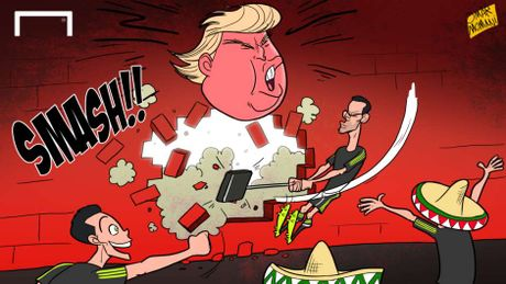 Hi hoa cau thu Mexico dap vo 'buc tuong' Donald Trump - Anh 1