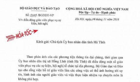Bo GD&DT de nghi Ha Tinh lam ro vu 'dieu giao vien tiep khach' - Anh 1