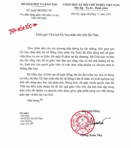 Bo GD&DT chi dao lam ro vu 'Dieu dong giao vien di tiep khach' - Anh 1