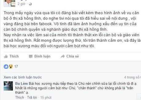 Vu dang anh boi nho giao vien Ha Tinh: Chu tai khoan facebook thua nhan sai, xin loi - Anh 1
