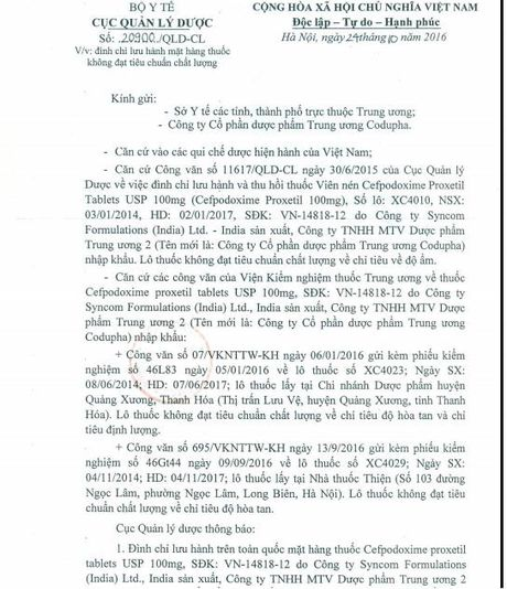 Khong dat chuan, thuoc Cefpodoxime Proxetil Tablets bi dinh chi luu hanh - Anh 1