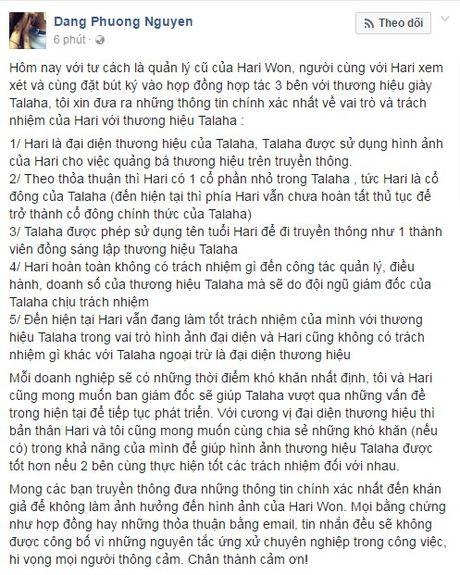 Quan ly cu len tieng: 'Du chi la co dong nhung Hari Won mong muon duoc giup do cong ty giay' - Anh 1