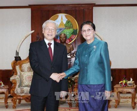 Tong Bi thu Nguyen Phu Trong hoi kien Chu tich Quoc hoi Lao - Anh 1
