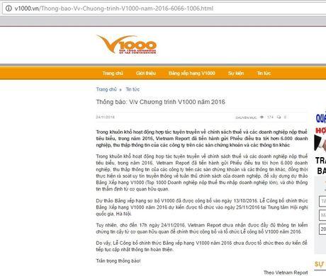 Vietnam Report 'muon danh' Tong cuc Thue de to chuc chuong trinh V1000? - Anh 1