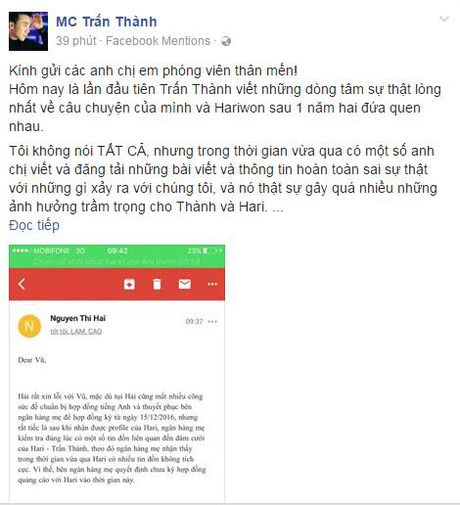 Hari Won mat hop dong vi scandal, Tran Thanh cau cuu truyen thong tren trang ca nhan - Anh 3