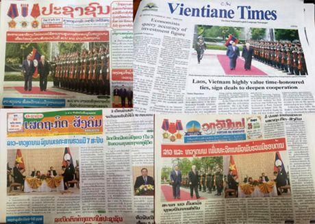 Bao chi Lao ca ngoi chuyen tham Lao cua Tong Bi thu Nguyen Phu Trong - Anh 1