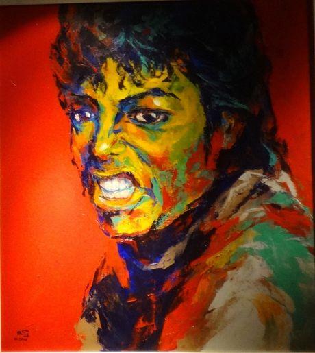 Trien lam tranh chan dung Michael Jackson tai Ha Noi - Anh 11
