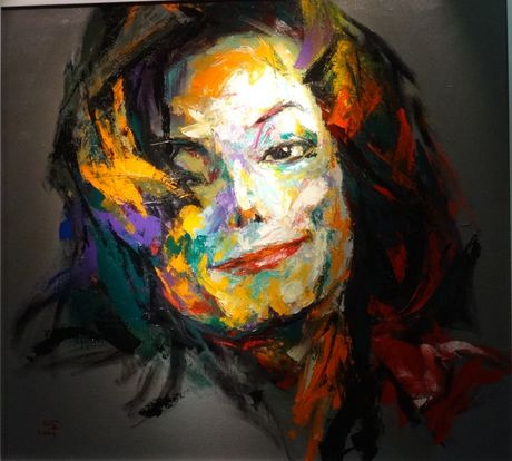 Trien lam tranh chan dung Michael Jackson tai Ha Noi - Anh 3