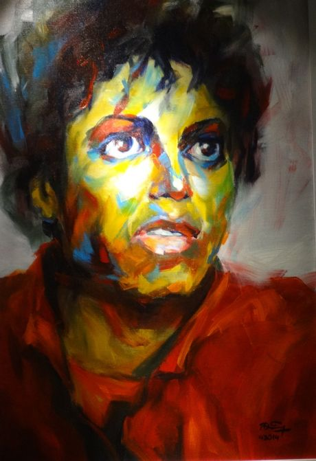 Trien lam tranh chan dung Michael Jackson tai Ha Noi - Anh 4