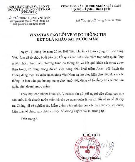 Vinastas xin loi ve thong tin nuoc mam nhiem Arsen - Anh 1