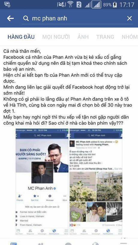 MC Phan Anh bi ke xau tim cach chiem quyen su dung facebook, Thieu Bao Trang gay nhuc mat vi vay sieu ngan - Anh 1