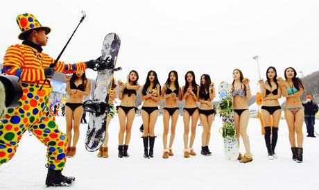 Dan nguoi dep mac bikini lam mau quang cao trong cai lanh 'thau xuong' - Anh 1