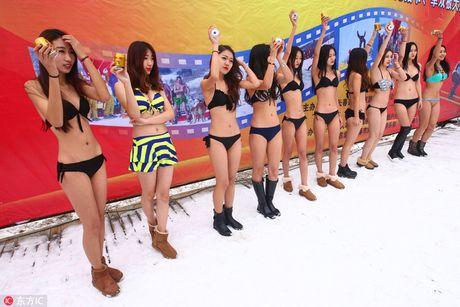 Dan nguoi dep mac bikini lam mau quang cao trong cai lanh 'thau xuong' - Anh 5