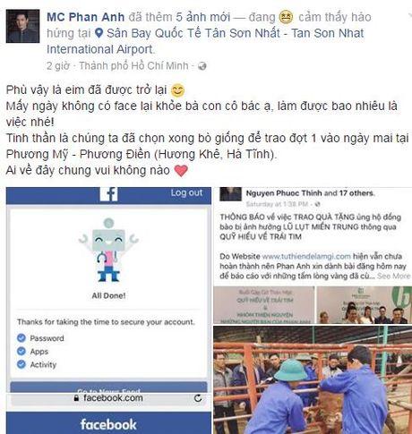 MC Phan Anh da lay lai duoc facebook sau khi bi hacker tan cong - Anh 2