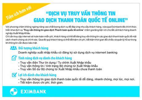 "Eximbank trien khai dich vu ""Truy van thong tin giao dich thanh toan quoc te online"" - Anh 1"