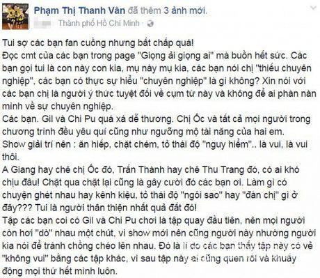Oc Thanh Van buc xuc len tieng khi bi fan Chi Pu cong kich - Anh 1