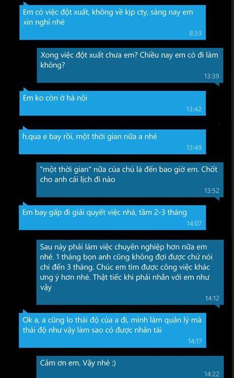 """Nhan vien ba dao: Xin nghi lam vai thang khong duoc quay sang trach sep """"thai do"""" - Anh 1"""